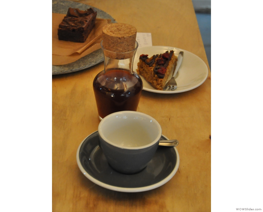 And there we are: a carafe of coffee, plus a slice of cake. Sadly, not for me.
