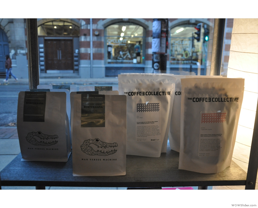 Some of the filter options from the retail shelf: Man vs Machine (Munich) & Coffee Collective.