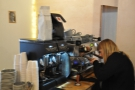 Lucy gets to work on the La Marzocco GB5, which Idle Hands has modified itself with a paddle.
