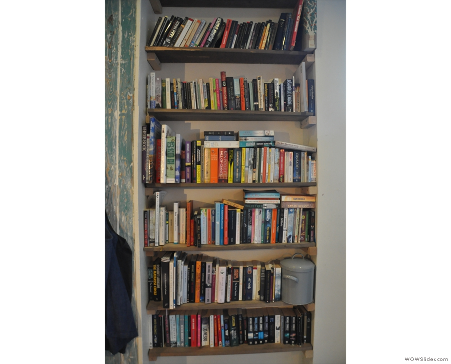 There's a generously-stocked bookshelf on the right-hand wall past the windows.