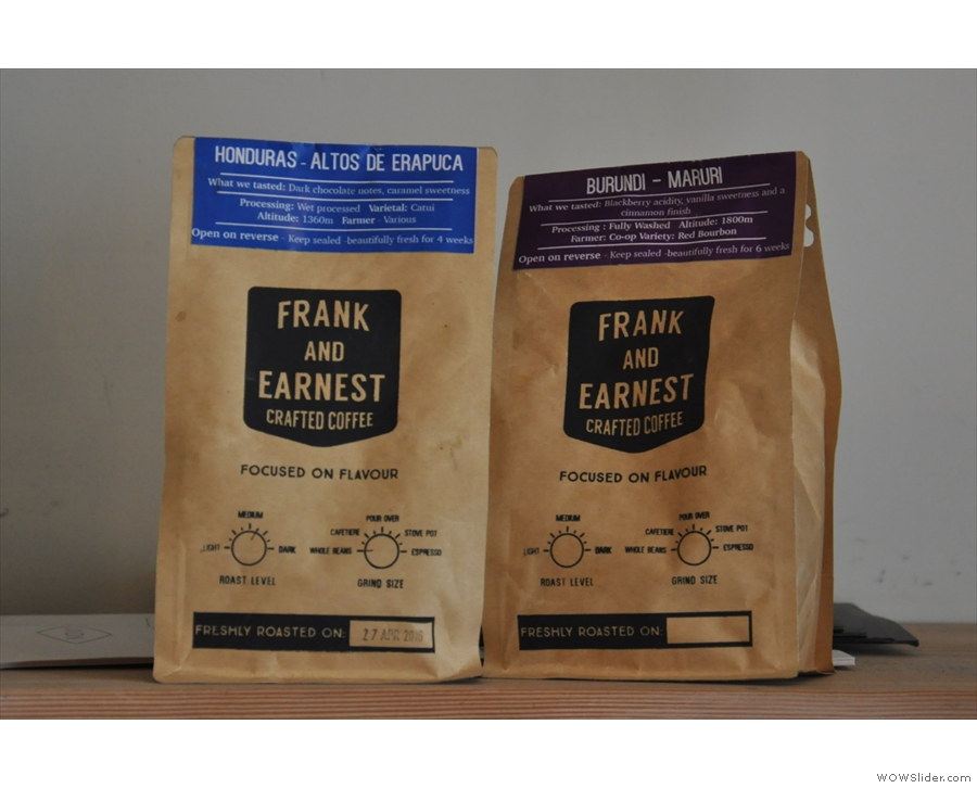 All the coffee is from local roasters, Frank and Earnest. Espresso, left, pour-over right.