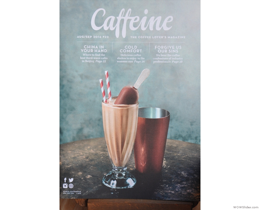 Caffeine Magazine #22 celebrates summer with a picture of a rather splendid coffee shake.