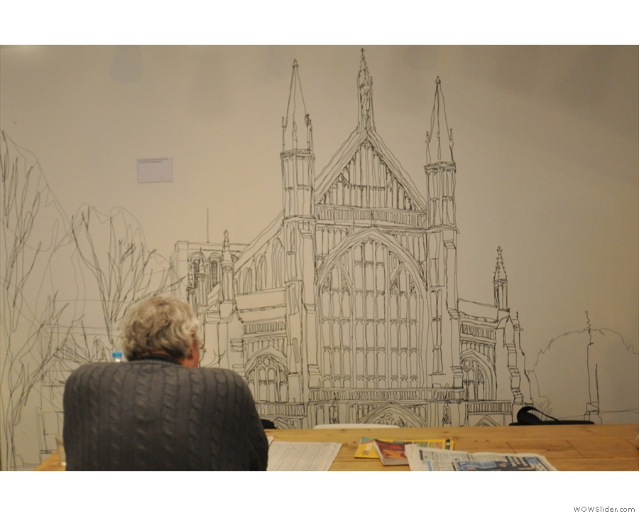 There's a neat picture of the Cathedral on the wall at the back, drawn by a local artist.