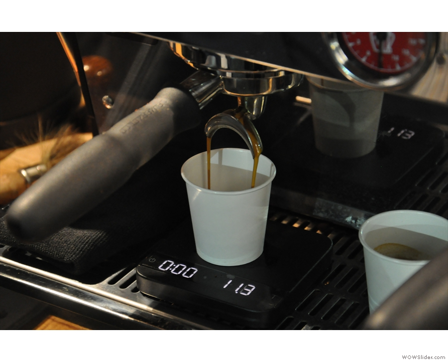 ... so Gareth had to make the espresso in one of his own cups...