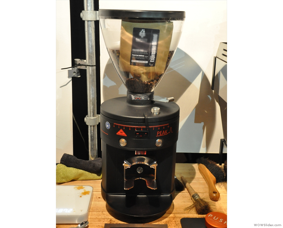 Carvetii's brand new grinder, a Mahlkonig Peak, with the latest espresso blend in the hopper.