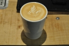 My flat white in close up. Gareth, by the way, says he 'can't do latte art...'. Hmmmm....