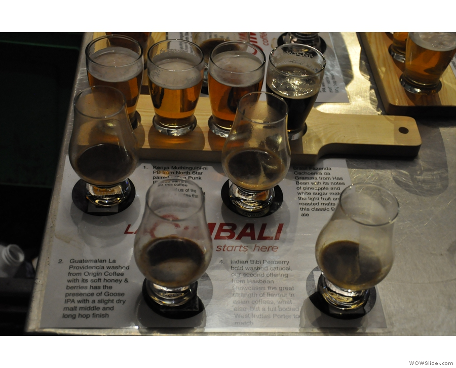 Here's a sampling in full flow: four coffees, each paired with a specific beer.