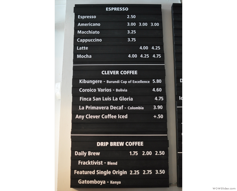 The coffee menu