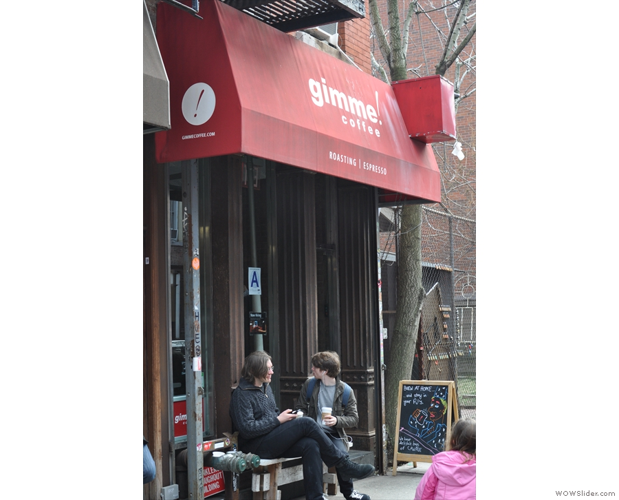 Just north of Little Italy, on Mott Street, you'll find a narrow store-front with a bench outside.