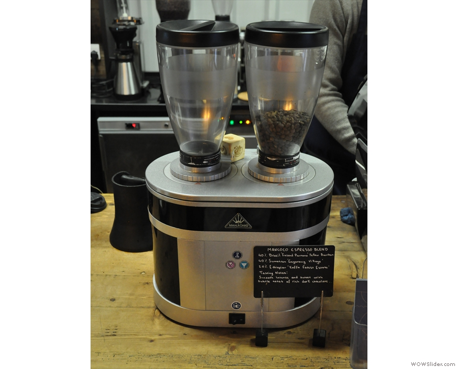 ... while the espresso (house-blend and single-origin) are in the two-headed grinder...