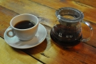 ... Ethiopian Kaffa Forest Estate thorough the V60, served in a carafe, with a cup on the side.