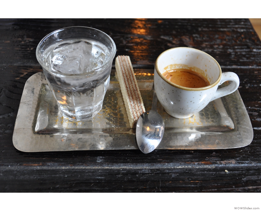 February: a beautifully presented espresso, plus glass of water, at Filter + Fox, Liverpool.