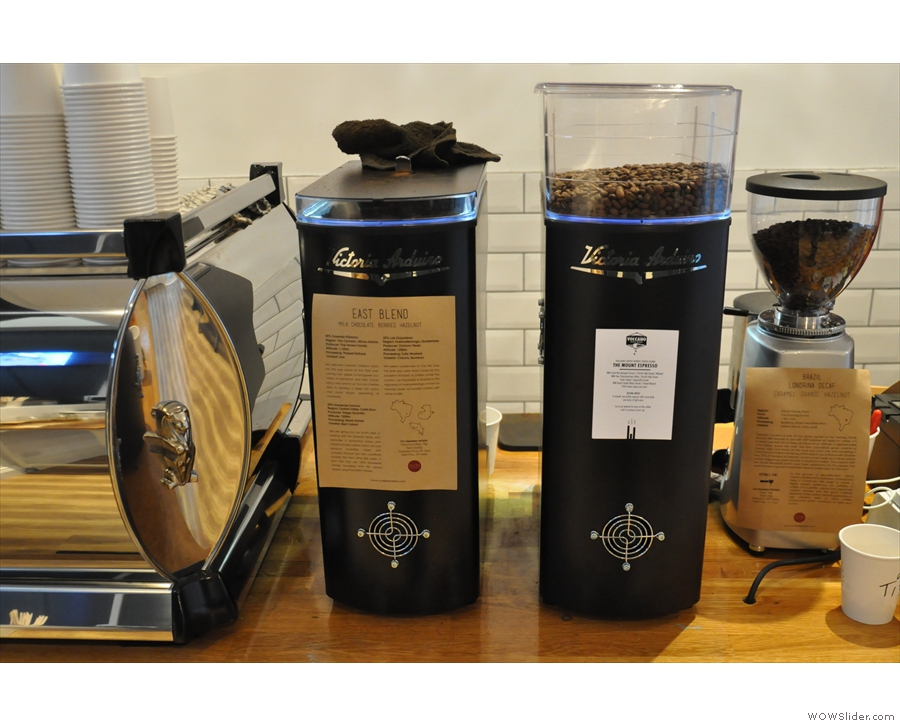 The grinders, left to right: Nude's East Blend, Volcano's The Mount Blend and the decaf.