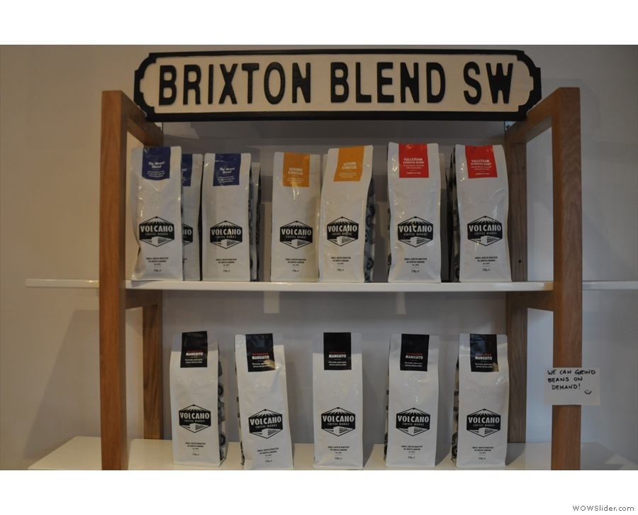 Both Brixton Blend's roasters are represented: Volcano here and Nude on the shelves below.