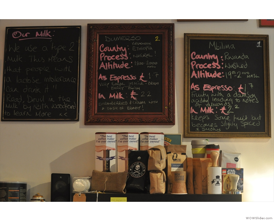 Tasting notes for the espresso beans at multi-roaster, Number 35 Coffee House & Kitchen.