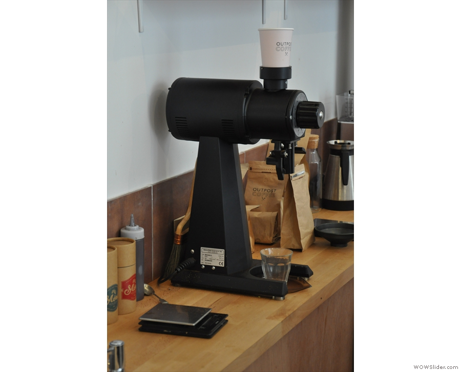 The EK-43, which does all the filter grinding, is tucked away behind the counter.