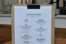... although, handily, the menu is repeated on these clipboards on each of the tables.