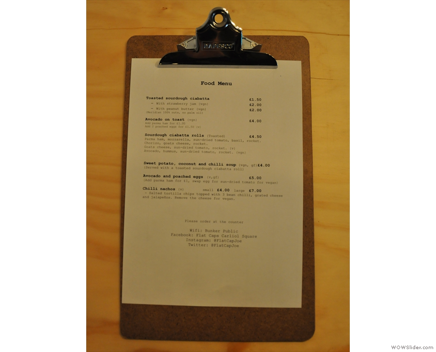 However, the menus are also on clipboards on the tables. Here's the food...