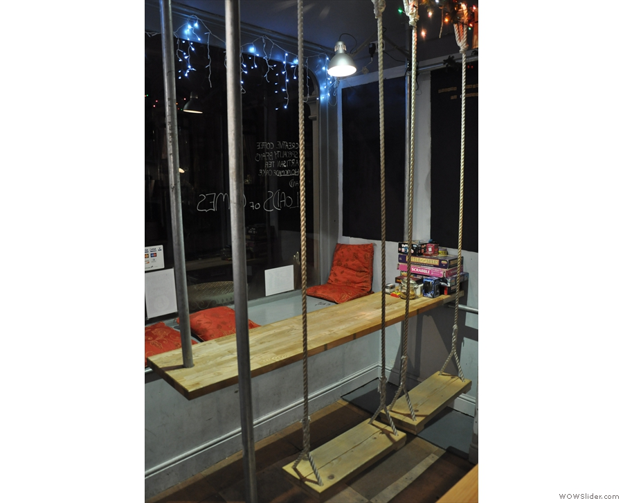 Playground Coffee is well known for the swing seats and suspended table in the window.