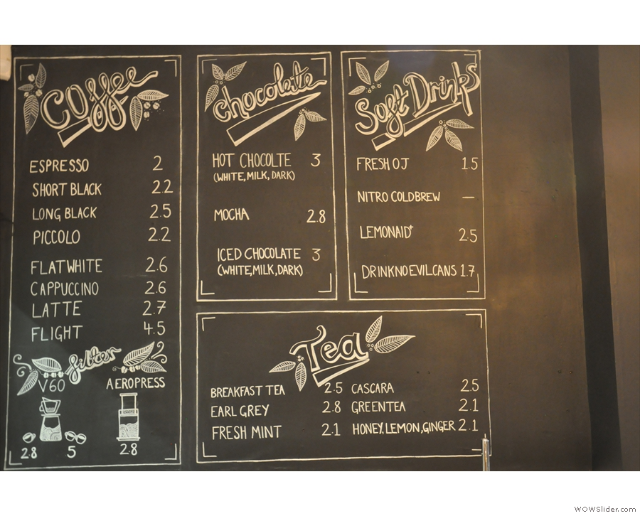 The menu is chalked up on the wall. Illustrations by the talented Florence.