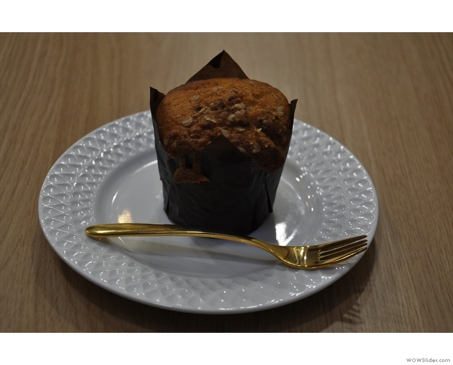 My muffin, meanwhile, was white chocolate and raspberry, a fine combination.