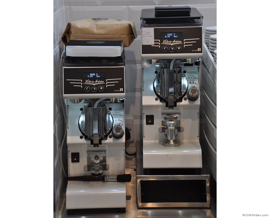 ... and its two grinders, one for the house single-origin and the other for the decaf.