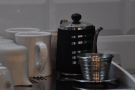 ... which is provided for by this dinky pouring kettle and single-serve Kalita Wave filter.