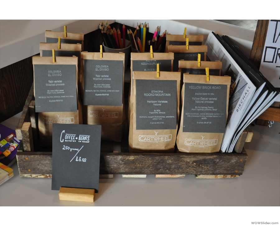 Cartwheel roasts a number of single-origins, all of which are for sale...