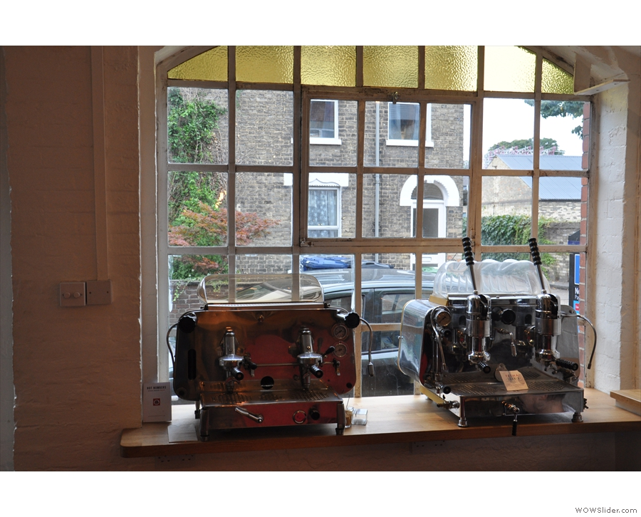 Other neat features include these two old espresso machines in the window sill.