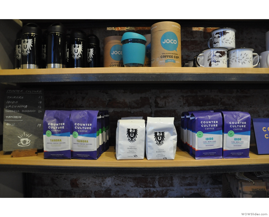 There's coffee and merchandising for sale from a variety of roasters...