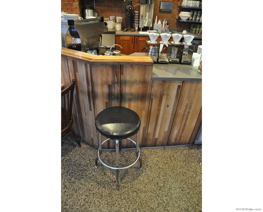 There's also a two-person table by the counter, plus this bar stool.