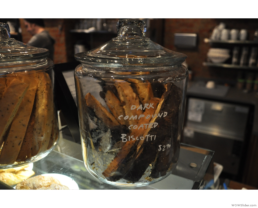 ... as well as a selection of biscotti in jars on the top of the counter.