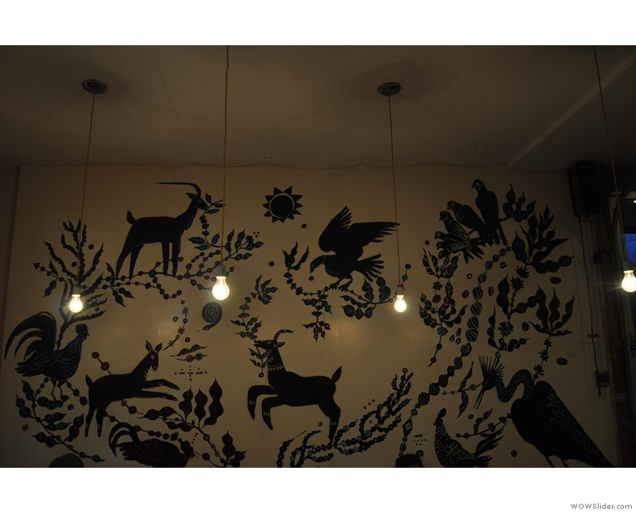 There are also these lights at the back, along with this interesting drawing on the wall.