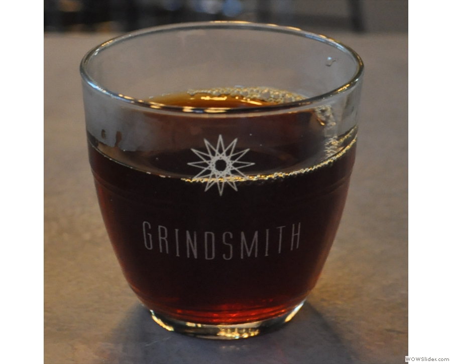 Grindsmith Media City, another excellent Kalita Wave pour-over, beautfiully presented.