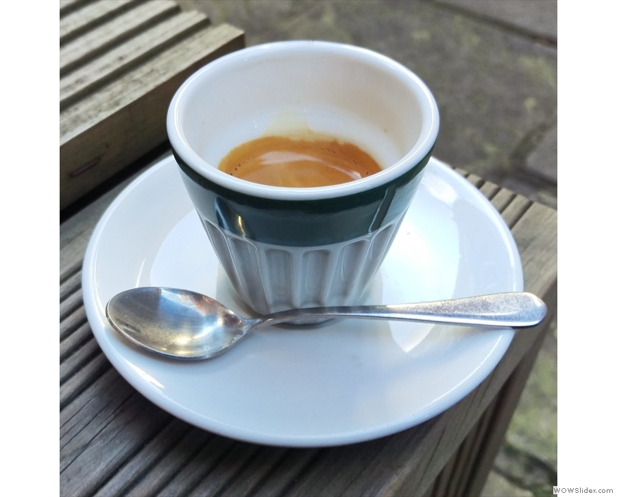 Expresso Base, in a churchyard in Bloomsbury, London.