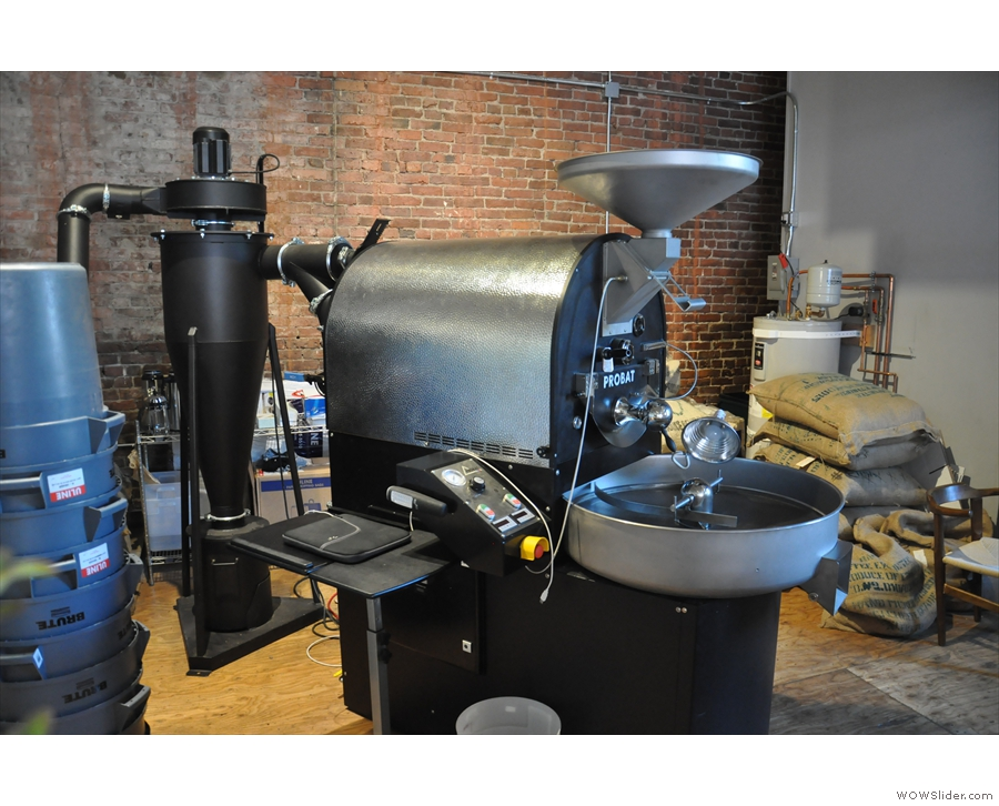 Roasting in the back of the coffee shop in Seattle, it's Elm Coffee Roasters.