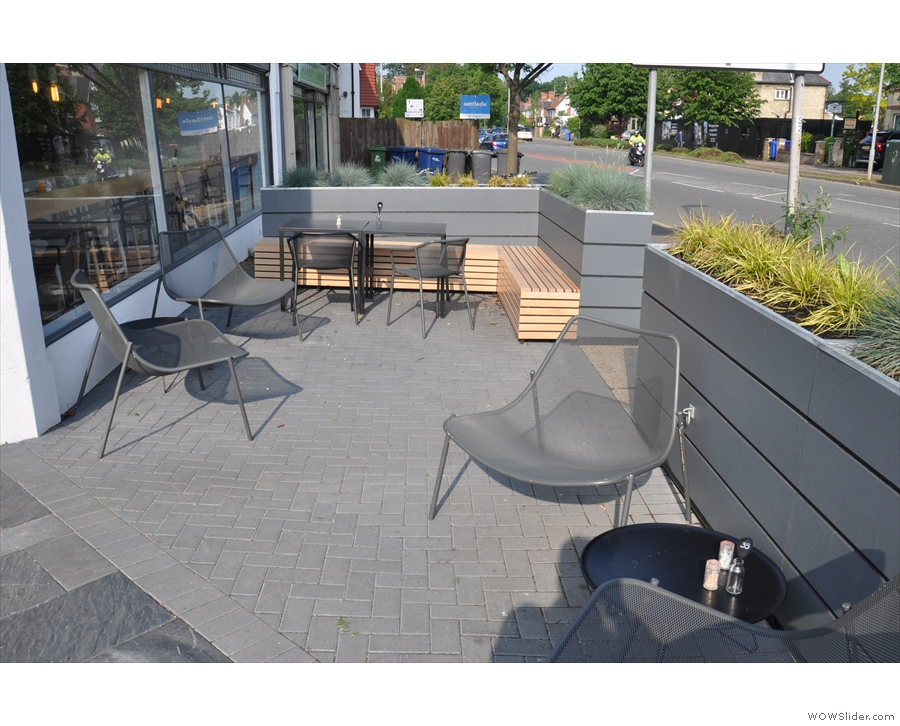 There's also a smaller seating area alongside Chesterton Road itself.