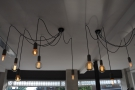 Despite all the windows, Stir has its fair share of lights, including these in the main room...