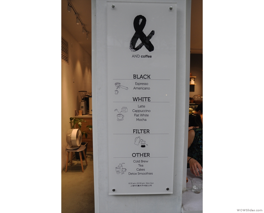 I liked the simplicity of the menu that was on the pillar between the door and window...