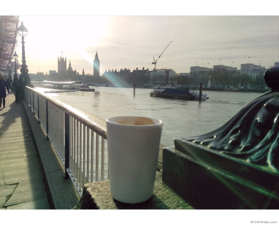 I take my reusable cups to all the best places: here's Therma Cups looking at Big Ben.