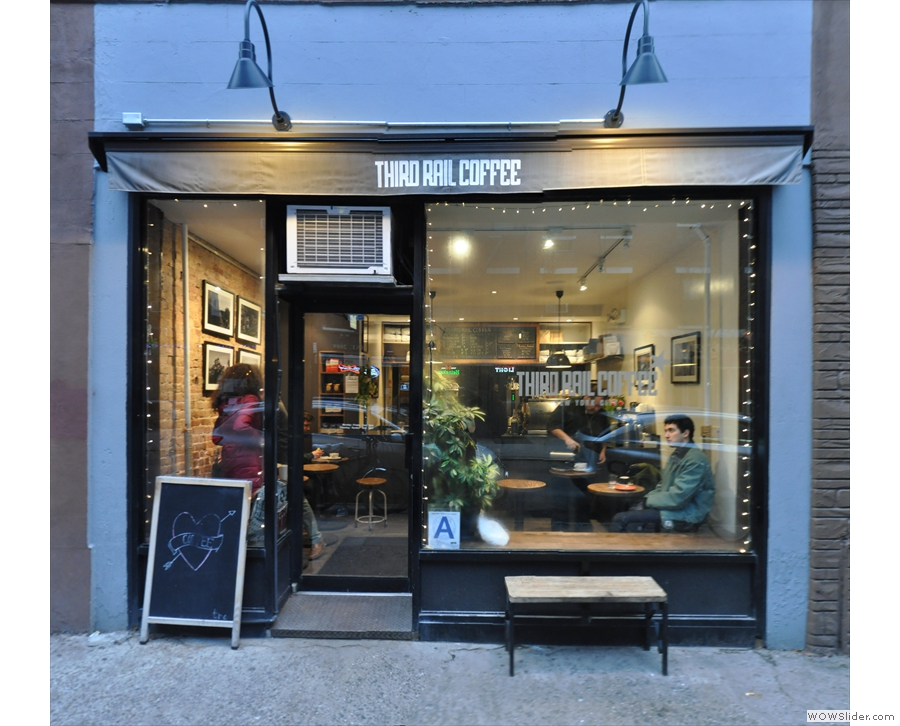New York City's original branch of Third Rail Coffee on Sullivan Street in Greenwich Village.