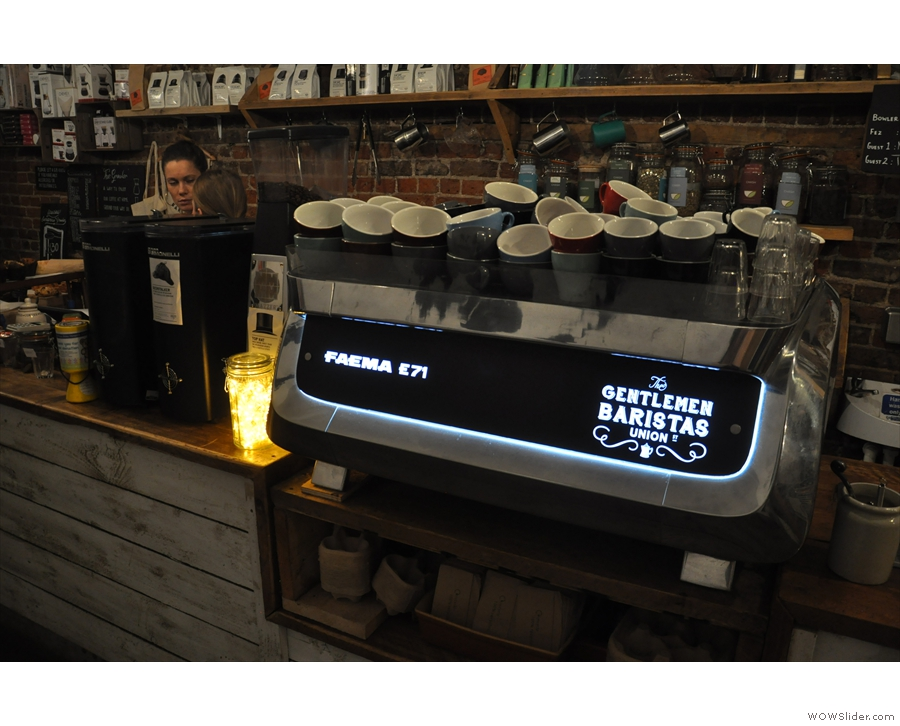 The heart of the (espresso) operation is this state-of-the-art Faema E71.