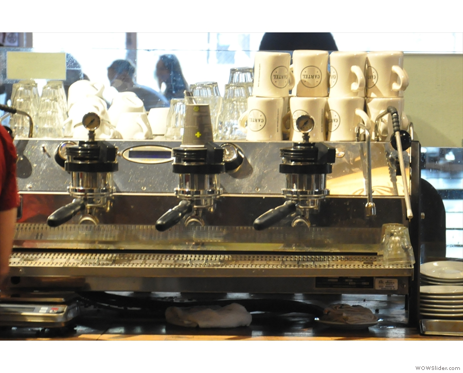 The business end of the La Marzocco Strada which occupies the front of the counter.
