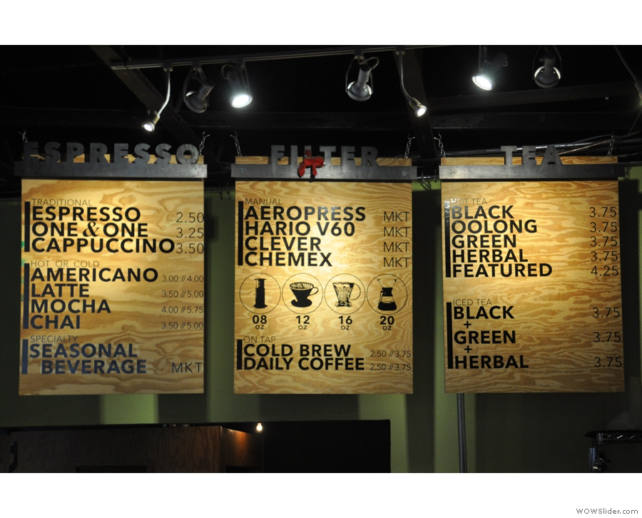 ... while the menu boards hang above the counter...