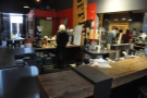 The counter is a large affair, almost an island. The rear part is devoted to pour-overs...