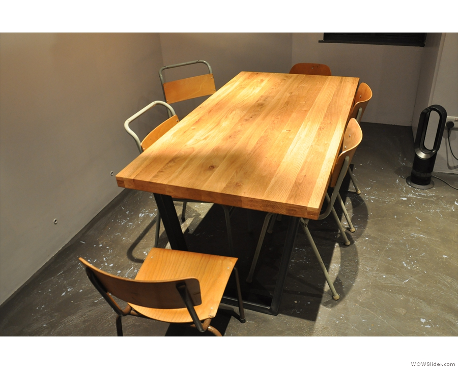There's a six-seat communal table...