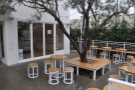 ... while on the other side, another tree & more seating, this time for the ice cream parlour.