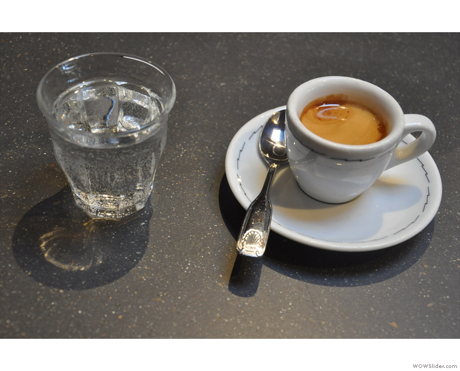 Finally I went back upstairs for a single-origin espresso, served with sparkling water.