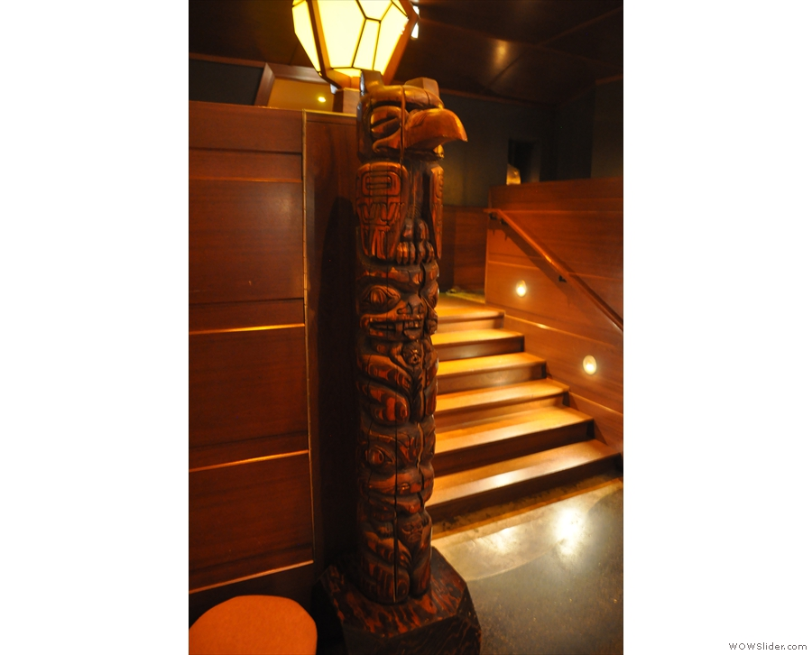 It's not just lights though. This carved pillar is at the bottom of the stairs.