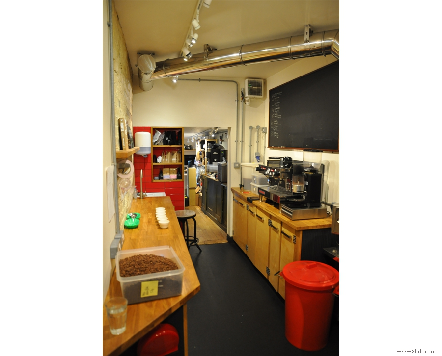 Beyond the roaster is a narrow training lab and beyond that, a small office.